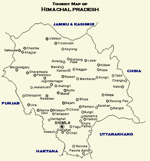 shimla manali in india map Himachal Tourist shimla manali in india map